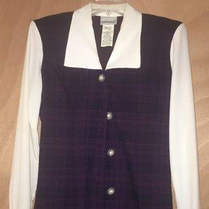 Vintage Fashion Bug Button Up Dress Plaid